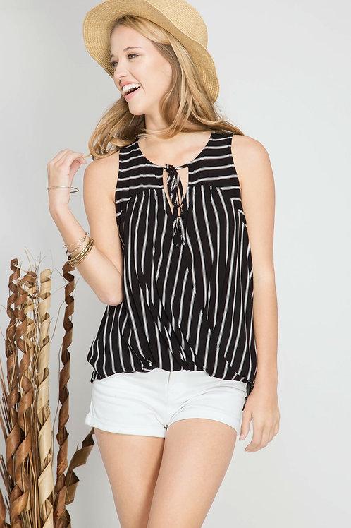 Black and White Striped Surplice Sleeveless Top