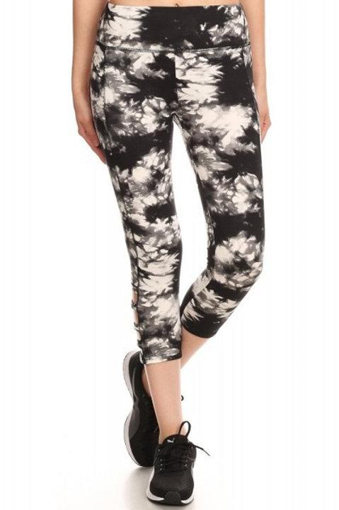 Black and White Tie Dye Crop Athletic Leggings