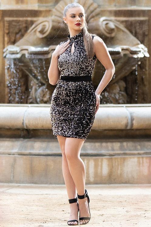 Black and Copper Metallic Sparkle Dress