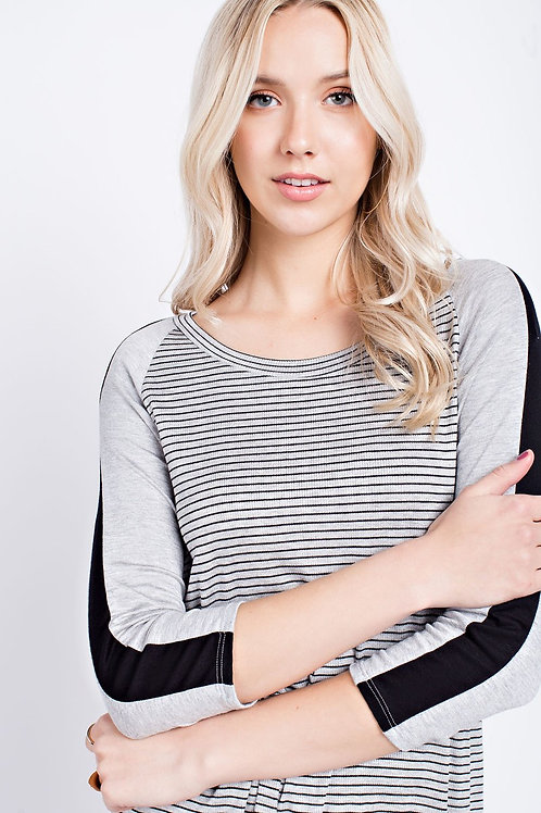 Heather Gray and Black Striped Top