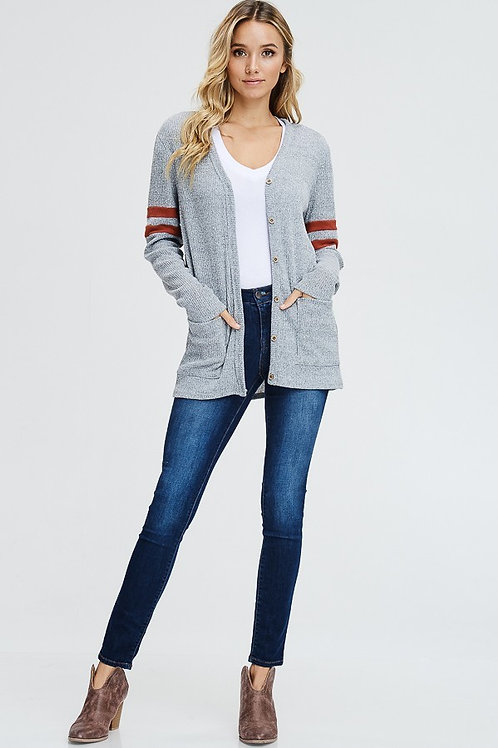 Sporty Long Sleeve Gray Cardigan