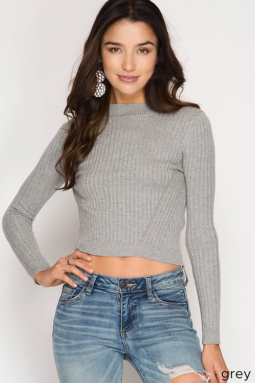 Gray Long Sleeve High Neck Ribbed Crop Top