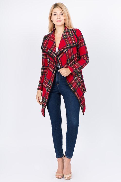 Red Plaid Long Sleeve Blazer Jacket