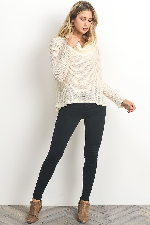 Ivory Cowl Neck Open Knit Sweater