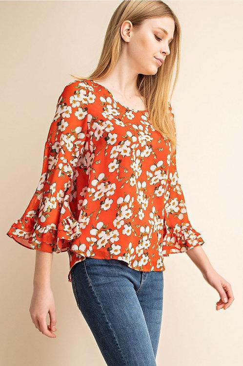 Orange Floral Flutter Sleeve Top