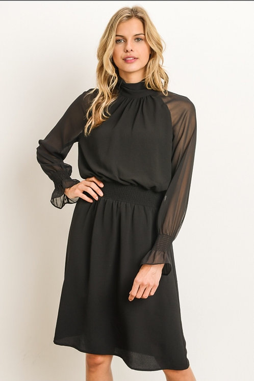 Black High Necked Sheer Sleeve Dress