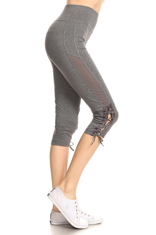 Gray Mesh and Lace Up Workout Capris