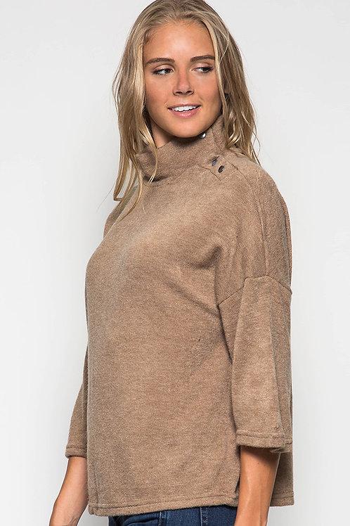 Taupe Three Quarter Length Sleeve Sweater