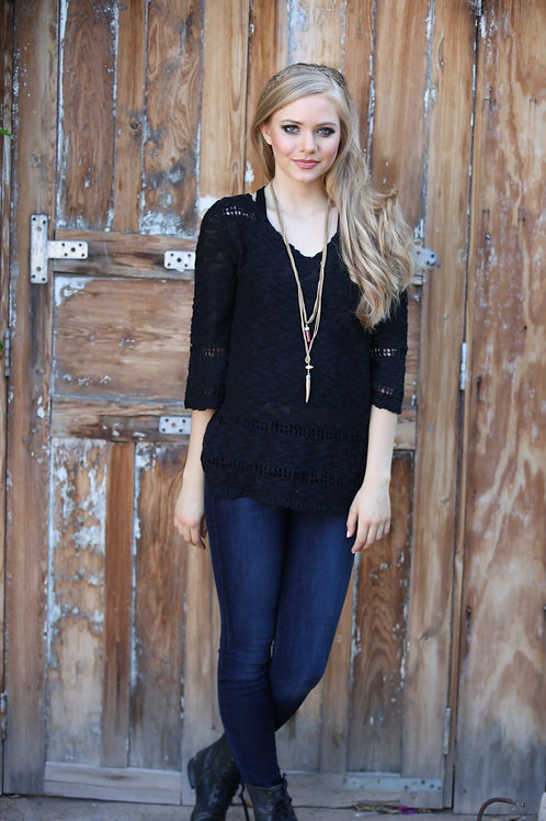 Black V-Neck Sweater with Bell Sleeves