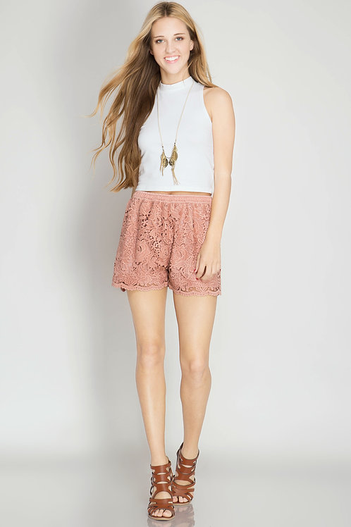 Pale Pink Floral Shorts