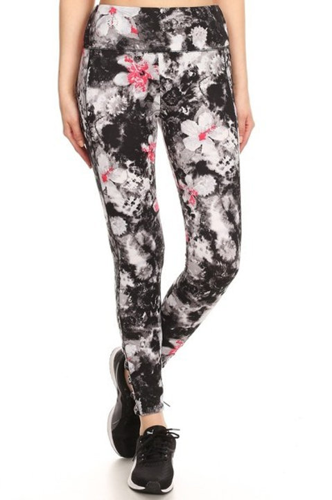 Black and White Floral Print Athletic Leggings