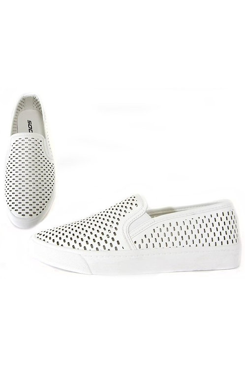 White Laser Cut Perforated Sneakers