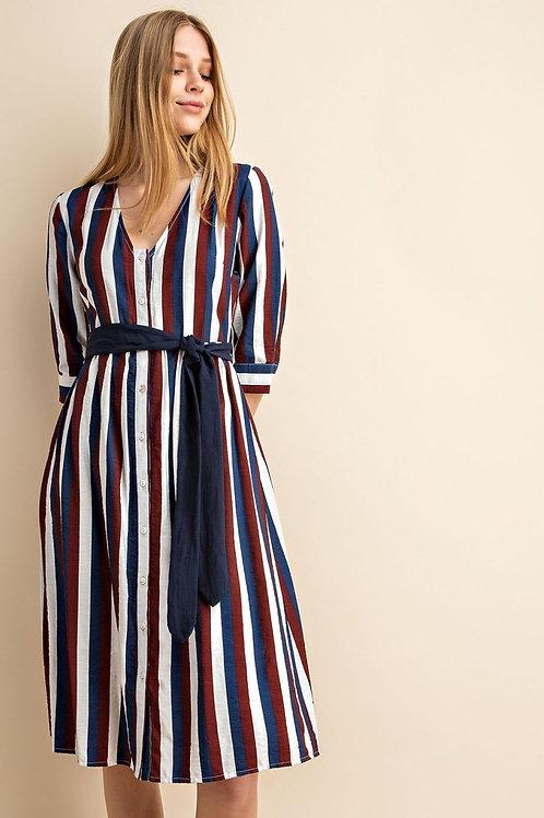 Multicolored Striped Midi Dress