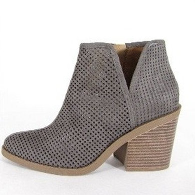 The Pamela Side Cut Perforated Grey Bootie