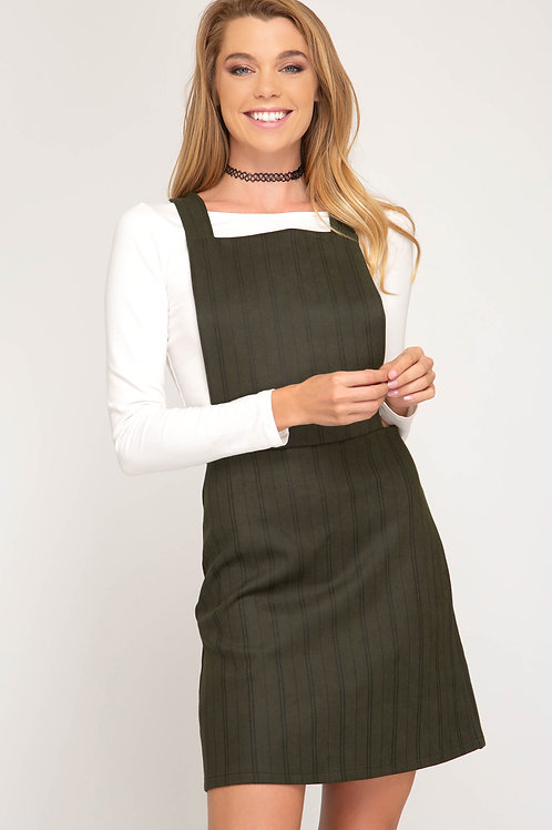 Olive Green Pinstripe Overall Dress