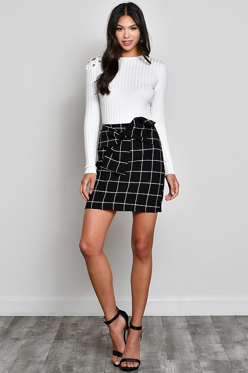Black and White Plaid Front Bow Skirt