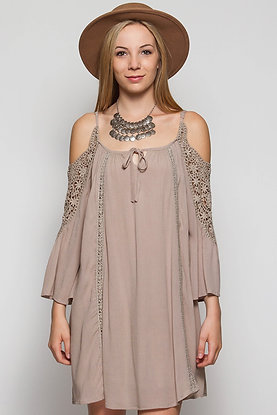 The Jenna Collection Mocha Cold Shoulder Dress