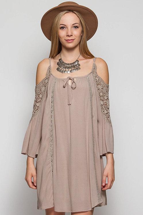 The Jenna Collection Mocha Cold Shoulder Dress