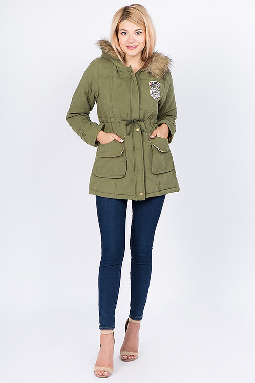 Army Green Faux Fur Hooded Long Jacket