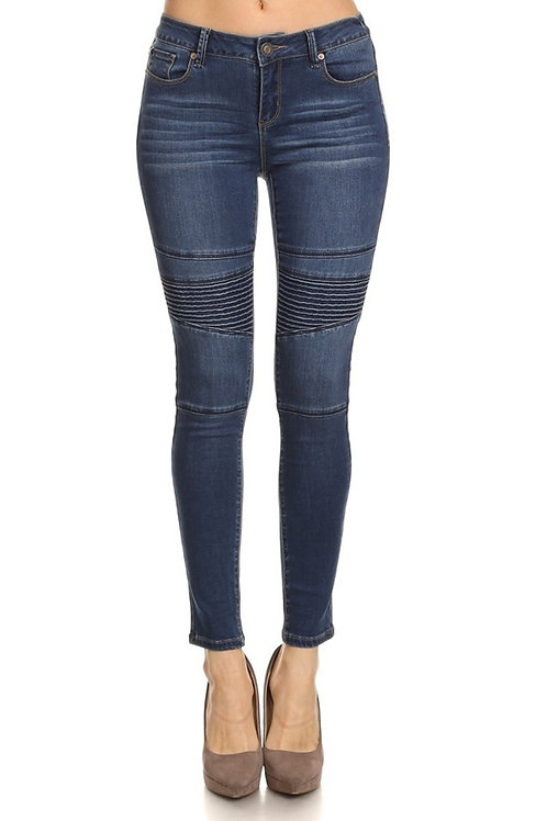 Medium Wash Moto Skinny Jeans