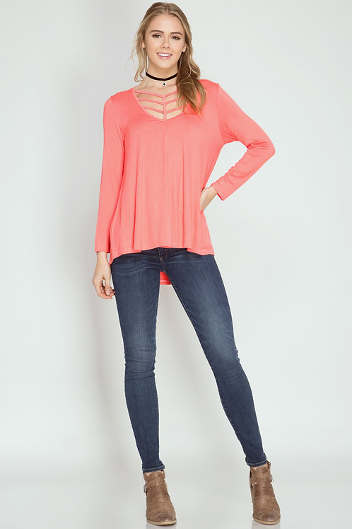 Coral Long Sleeve Strap Detail Top