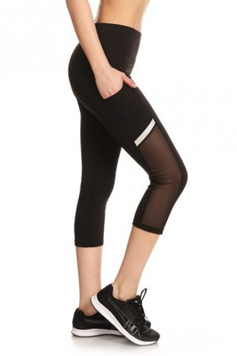Black Mesh Athletic Capris with Pocket