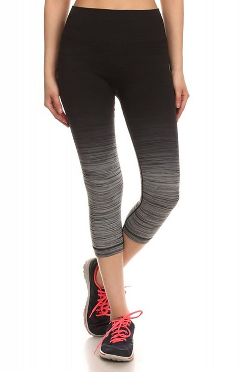 Black and Gray Ombre Athletic Capris