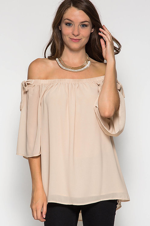 Taupe Off-the-Shoulder Silk Blend Top