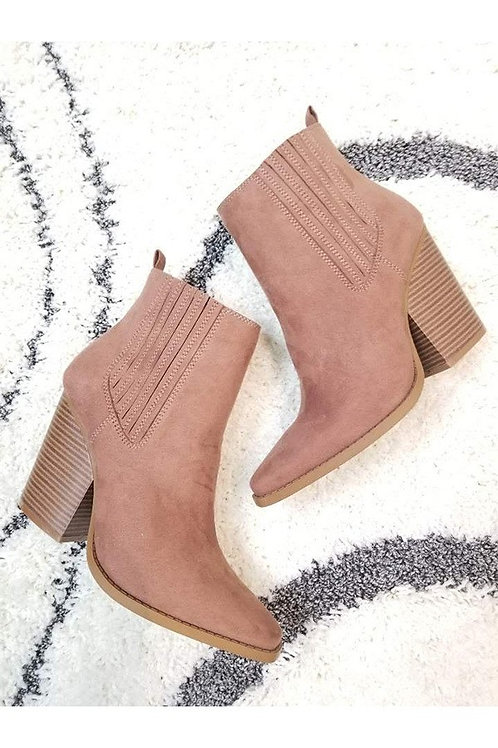 Dusty Rose Pink Booties