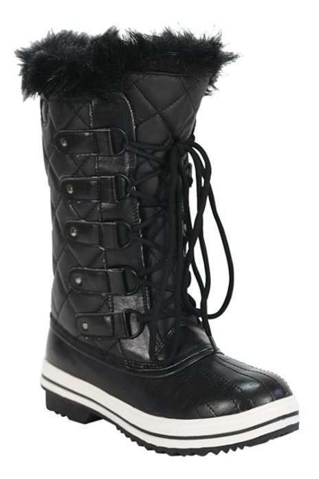 Black Fur Lined Quilted Lace Up Winter Snow Boots