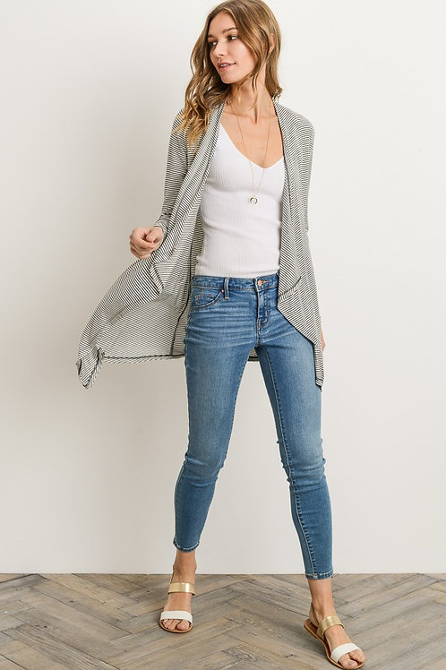Grey and White Striped Open Cardigan