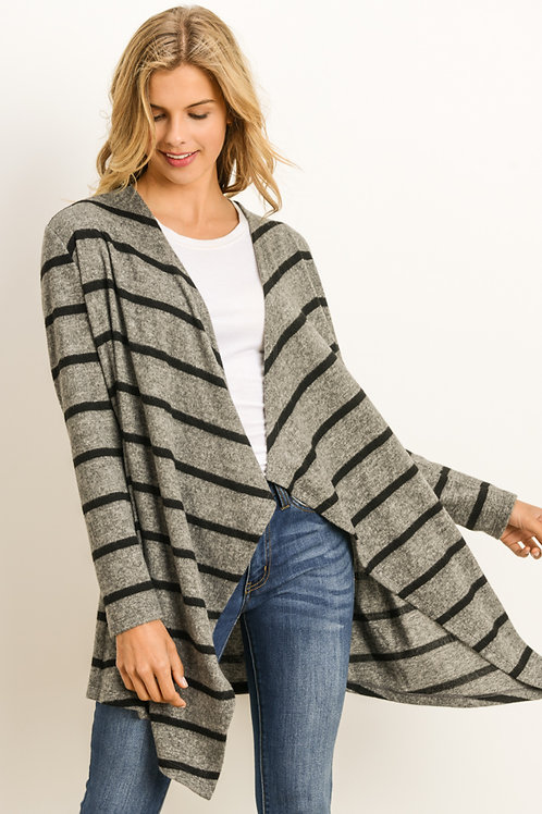 Gray and Black Stripe Open Front Cardigan