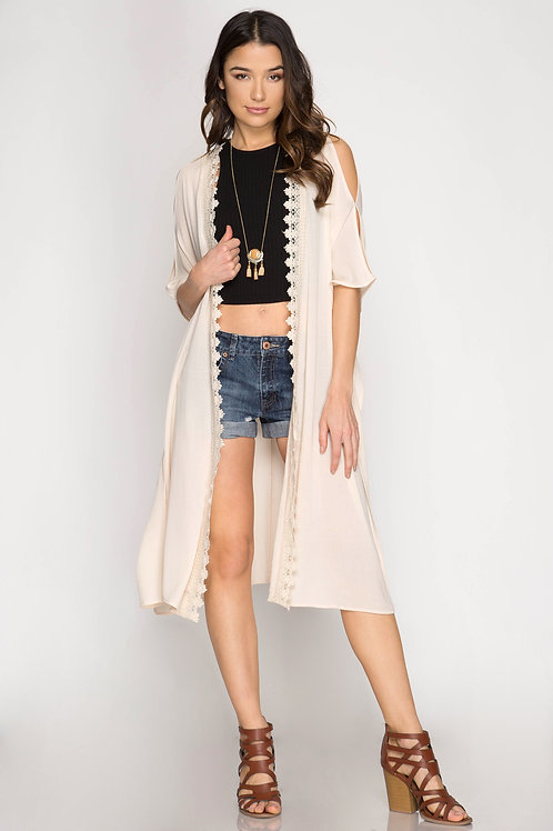 Natural Lace Trim Midi Cardigan
