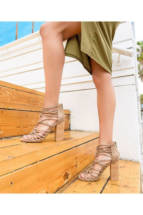 Hand Knotted Leather Block Heel Strap Sandals