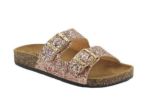 Rose Gold Glitter Double Strap Buckle Sandals