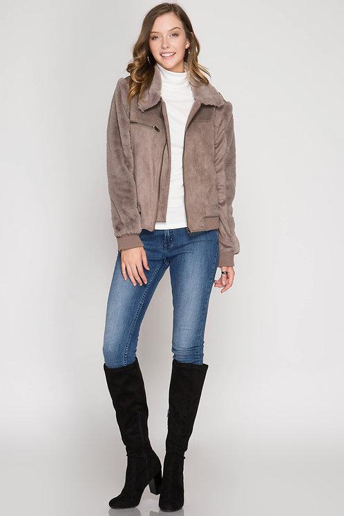 Mocha Faux Suede Jacket with Faux Fur