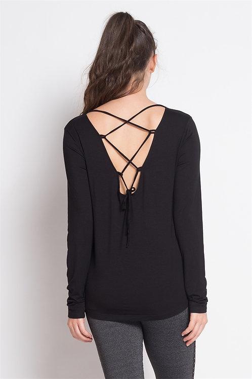 Black Criss Cross Back Long Sleeve Top