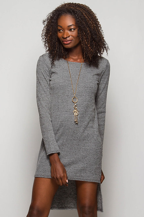Gray Ribbed Shift Dress with Zipper Sides