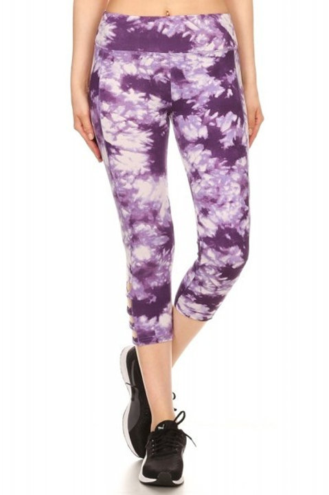 Purple and White Tie Dye Cropped Athletic Leggings