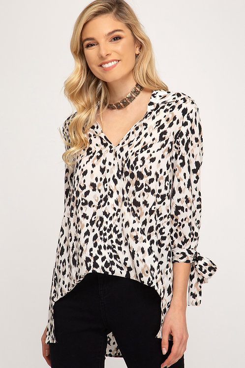 Leopard Print Tie Sleeve Top
