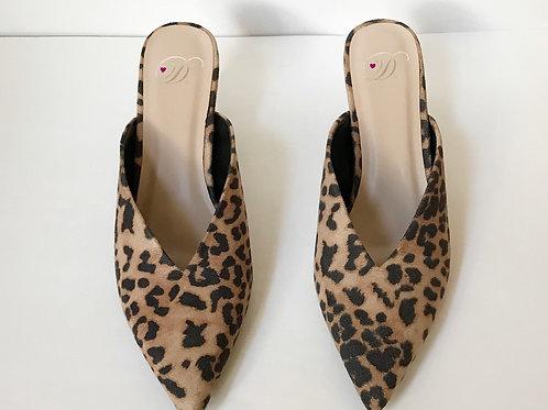 Leopard V-Front Kitten Heels