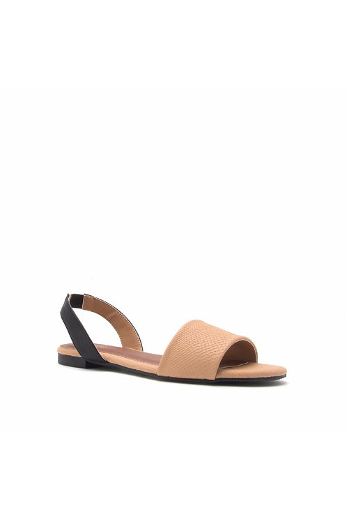 Toffee and Black Sling Back Flat Sandals