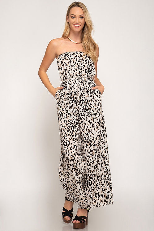 Light Leopard Print Wide Leg Jumpsuit