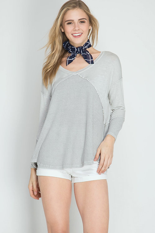 Grey Long Sleeve Contrast Top
