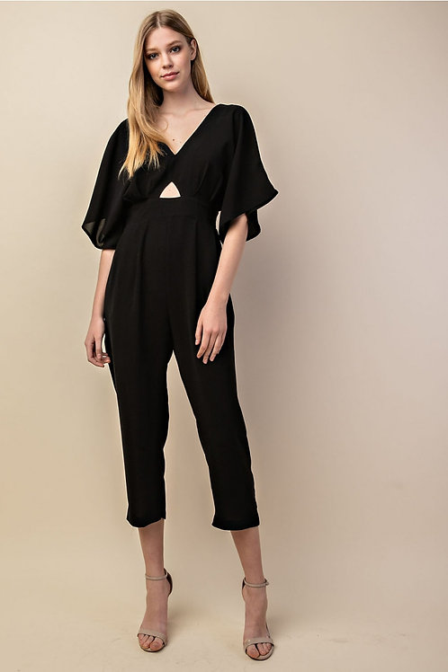 Black Key Hole Front Ankle Jumpsuit