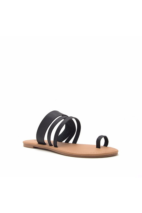 Athena Black Slip On Sandals