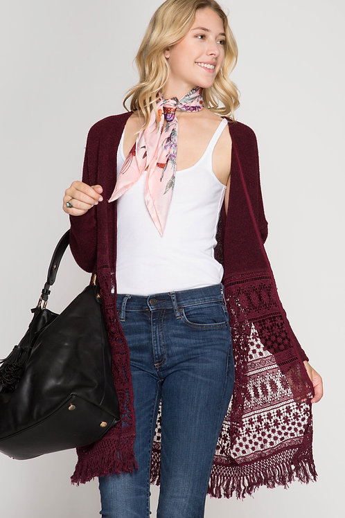 Long Wine Hacci Open Cardigan with Lace and Fringe