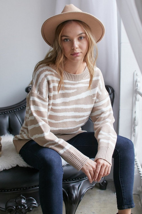 Tan and White Zebra Stripe Sweater