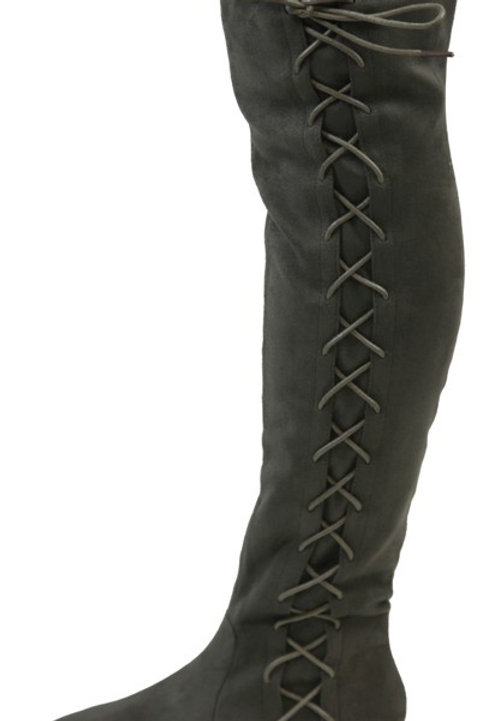 Knee High Olive Lace Up Boots