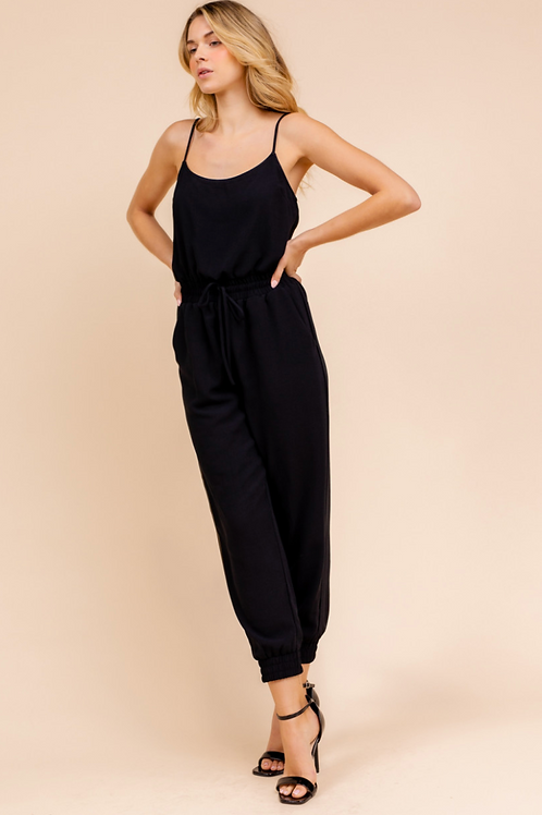 Black Spa Strap Jogger Jumpsuit